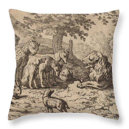 Throw Pillow featuring the drawing The Lion Seeks Advice by Allart Van Everdingen