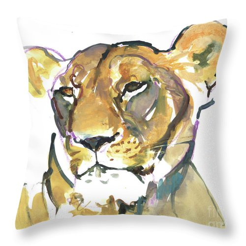 The Lioness Throw Pillow featuring the mixed media The Lioness by Mark Adlington