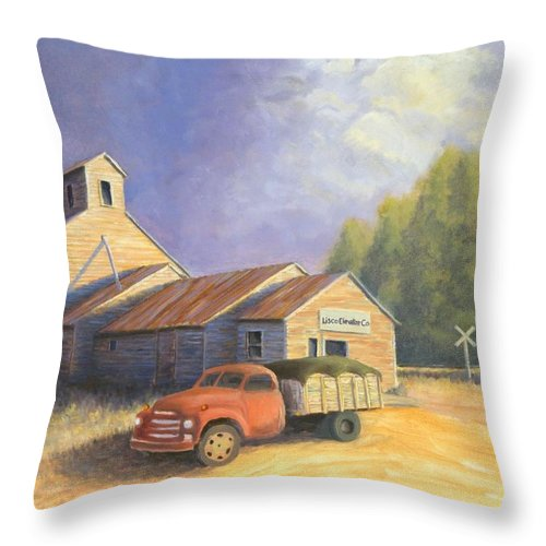 Nebraska Throw Pillow featuring the painting The Lisco Elevator by Jerry McElroy