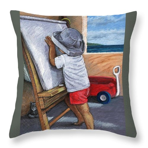 Young Artist Throw Pillow featuring the painting The Little Artist by Snake Jagger