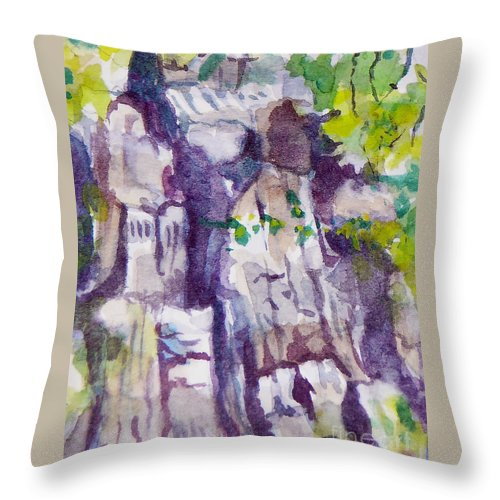 Purple Throw Pillow featuring the painting The Little Climbing Wall by Jan Bennicoff
