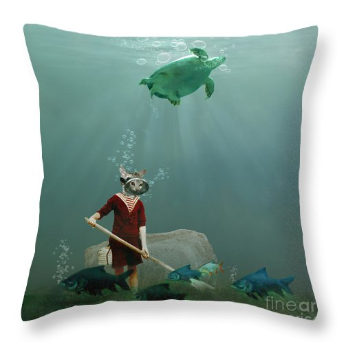Underwater Throw Pillow featuring the photograph The Little Gardener by Martine Roch