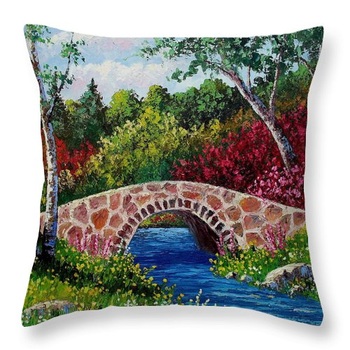 Landscape Throw Pillow featuring the painting The Little Stone Bridge by David G Paul