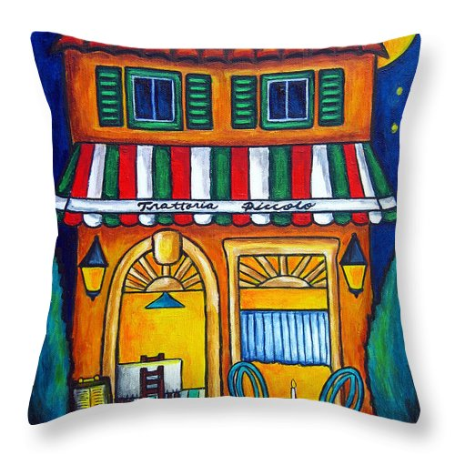Blue Throw Pillow featuring the painting The Little Trattoria by Lisa Lorenz