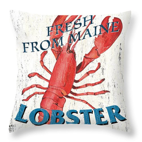 Lobster Throw Pillow featuring the painting The Lobster Pot by Debbie DeWitt