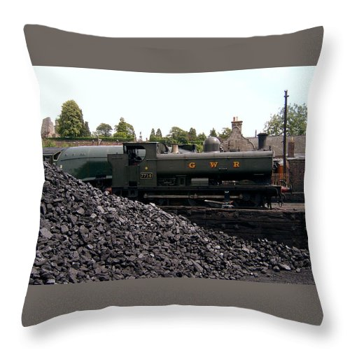 Steam Locomotives Throw Pillow featuring the photograph The Locomotive Yard by Richard Denyer