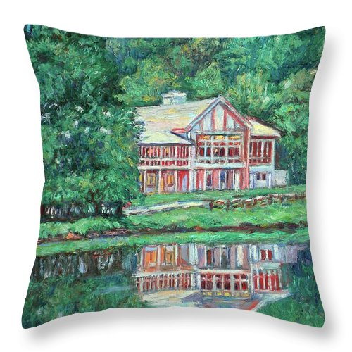 Lodge Paintings Throw Pillow featuring the painting The Lodge At Peaks Of Otter by Kendall Kessler