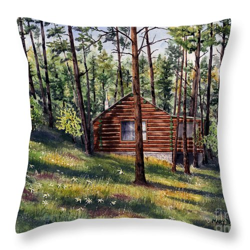 Nature Throw Pillow featuring the painting The Log Cabin by Mary Tuomi