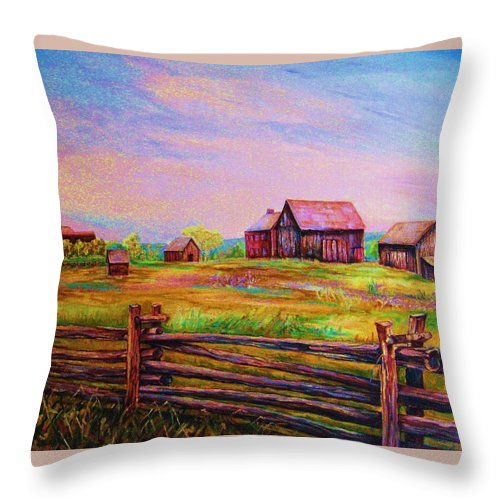 Ranches Throw Pillow featuring the painting The Log Fence by Carole Spandau