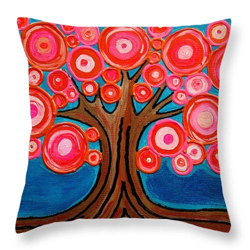 Tree Colorful Bright Funky Playful Pink Orange Abstract Throw Pillow featuring the painting The Lollipop Tree by Pamela Cisneros
