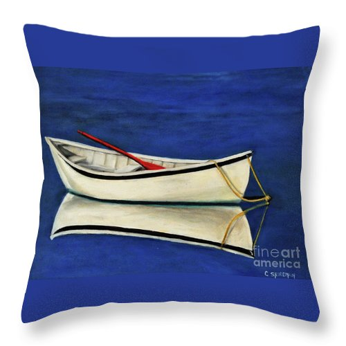 Boat Throw Pillow featuring the painting The Lone Boat by Carolyn Shireman