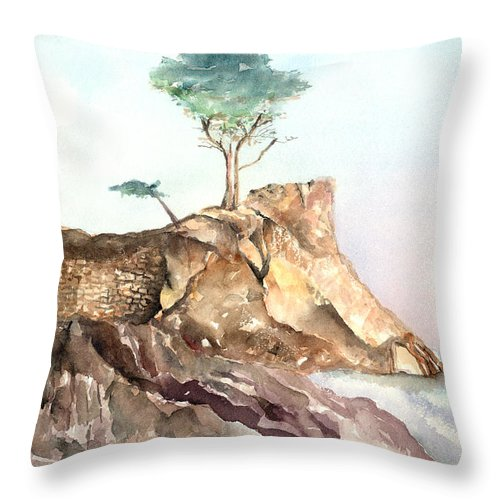 Tree Throw Pillow featuring the painting The Lone Cypress-monterey Ca by Arline Wagner
