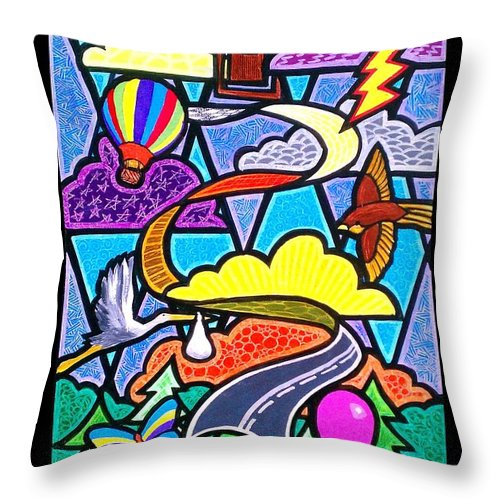 Road Throw Pillow featuring the painting The Long and Winding Road Two by Jim Harris