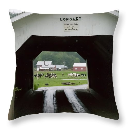 #jefffolger Throw Pillow featuring the photograph The Longley Covered Bridge by Jeff Folger