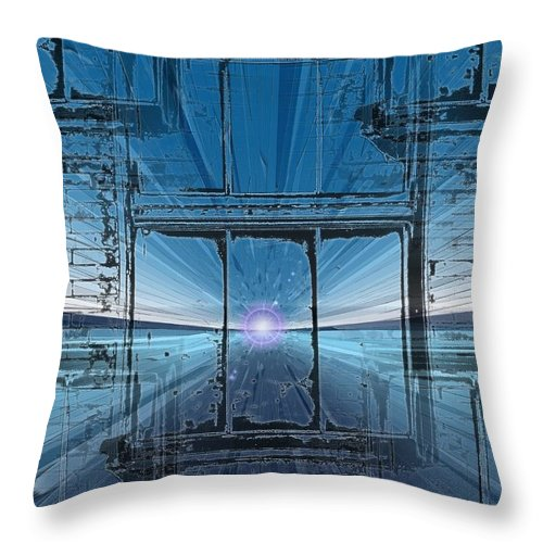 Throw Pillow featuring the digital art The Looking Glass by Tim Allen