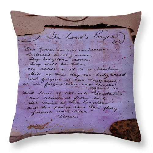 ruth Palmer Throw Pillow featuring the mixed media The Lord's Prayer Collage by Ruth Palmer
