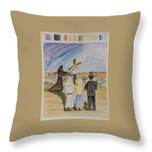 Religion Throw Pillow featuring the painting The Lost And Lonely Lamb by Diana Stiefer