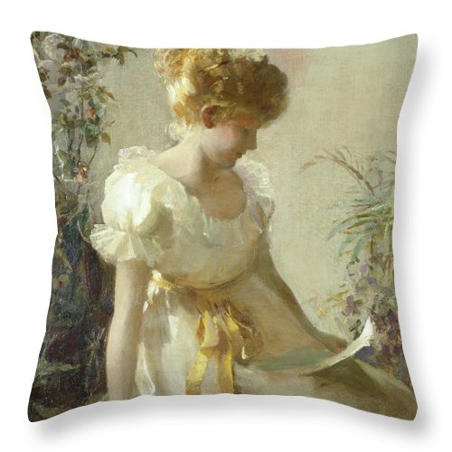 The Love Letter (oil On Canvas) By Jessie Elliot Gorst (fl.1889-99) Throw Pillow featuring the painting The Love Letter by Jessie Elliot Gorst