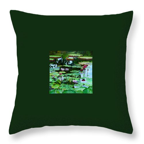 Landscape Throw Pillow featuring the painting The Love Of Peace by John Lautermilch