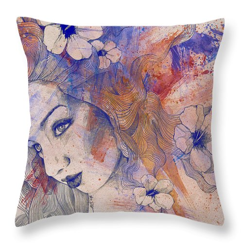 Pencil Throw Pillow featuring the painting The Lowest Common Denominator - Peach by Marco Paludet