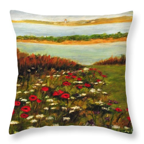 Beach Throw Pillow featuring the painting The Lowlands by Carolyn Shireman