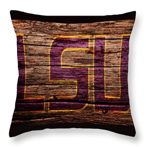 The Lsu Tigers Throw Pillow featuring the mixed media The Lsu Tigers 1b by Brian Reaves