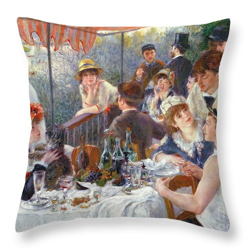 The Throw Pillow featuring the painting The Luncheon of the Boating Party by Pierre Auguste Renoir