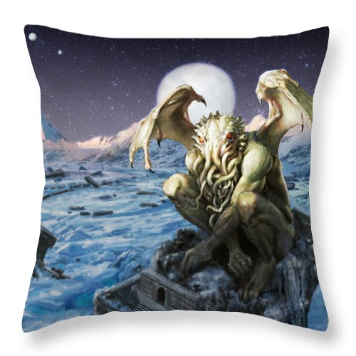 Cthulhu Mythos Throw Pillow featuring the painting The Lurker From The Darkness by Armand Cabrera
