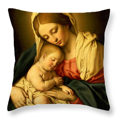 Mary Throw Pillow featuring the painting The Madonna And Child by Il Sassoferrato