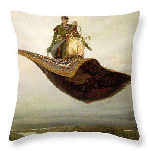 Magical Throw Pillow featuring the painting The Magic Carpet by Apollinari Mikhailovich Vasnetsov