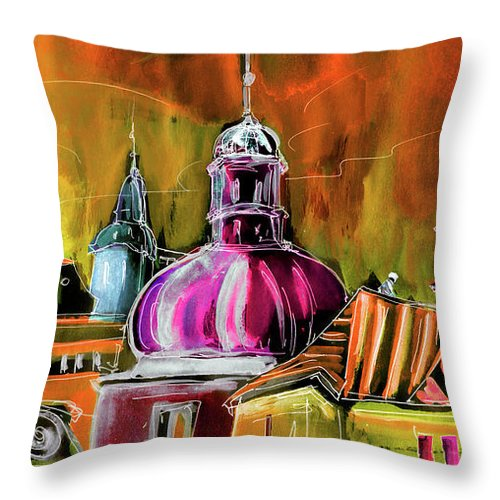 Travel Sketch Throw Pillow featuring the painting The Magical Rooftops Of Prague 01 by Miki De Goodaboom