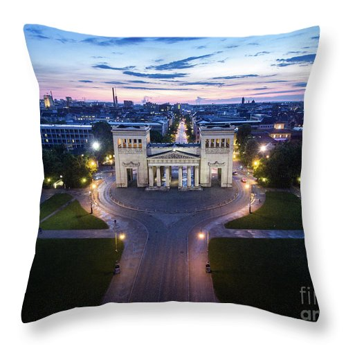 Dji Throw Pillow featuring the photograph The Majestic Koenigplatz by Hannes Cmarits