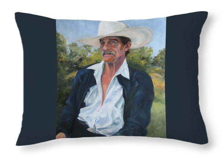 Portrait Throw Pillow featuring the painting The Man From The Valley by Connie Schaertl
