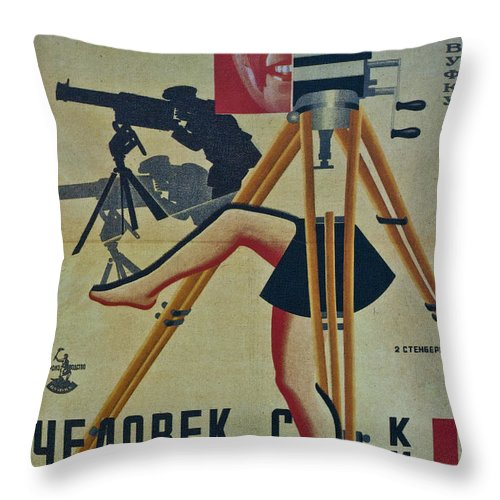 The Man With A Camera Throw Pillow featuring the photograph The Man With A Movie Camera by Georgia Fowler