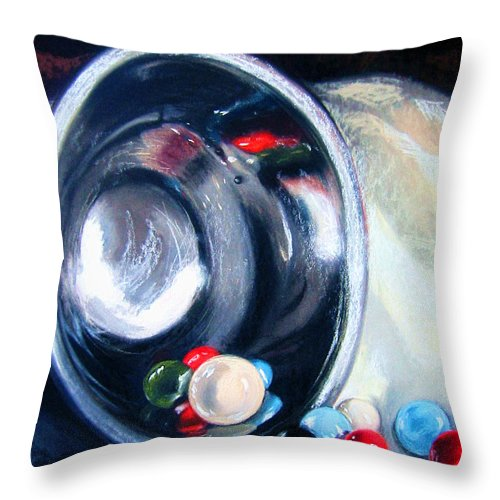 Marbles Throw Pillow featuring the pastel The Marble Bowl by Leyla Munteanu