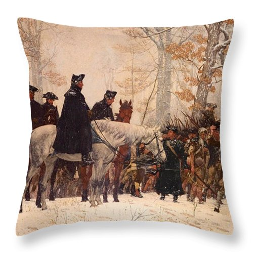 Painting Throw Pillow featuring the painting The March To Valley Forge by Mountain Dreams