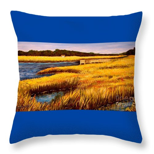 Beaches Throw Pillow featuring the painting The Marsh At Cherry Grove Myrtle Beach South Carolina by Patricia L Davidson
