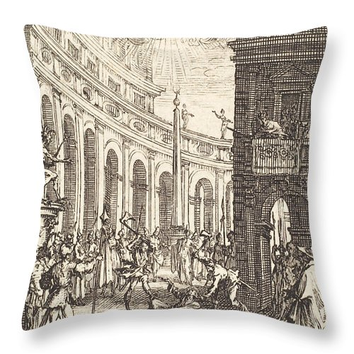 Throw Pillow featuring the drawing The Martyrdom Of Saint Thaddeus by Jacques Callot