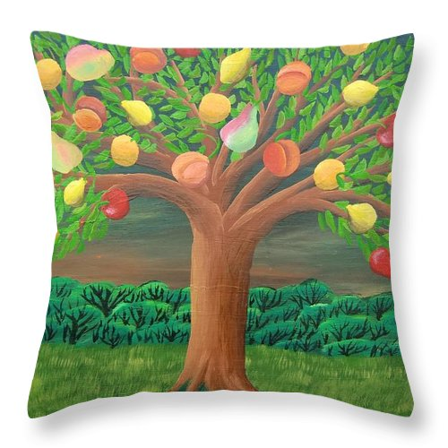 Marzipan Tree Throw Pillow featuring the painting The Marzipan Tree by Philipp Merillat