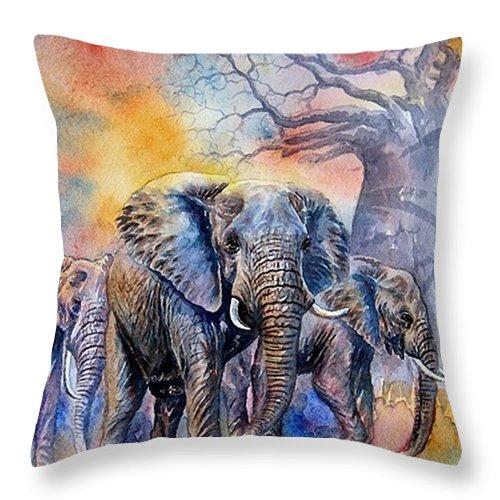 Masai Mara Throw Pillow featuring the painting The Masai Mara Elephants by William Mutua