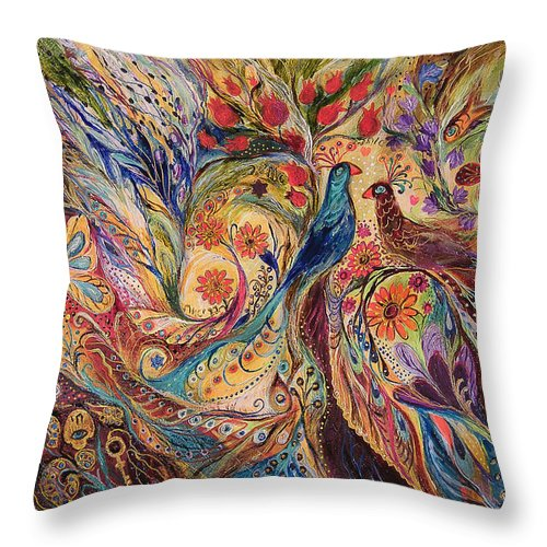 Original Throw Pillow featuring the painting The Mediterranean Summer by Elena Kotliarker