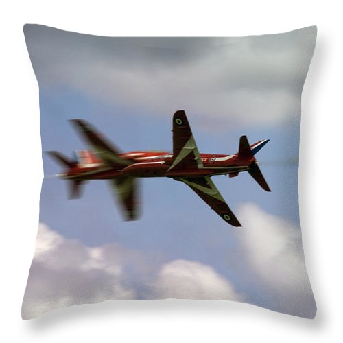 Red Arrows Throw Pillow featuring the photograph The Meeting by Angel Ciesniarska