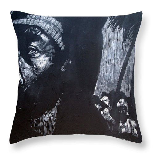 Meet Throw Pillow featuring the mixed media The Meeting by Chester Elmore