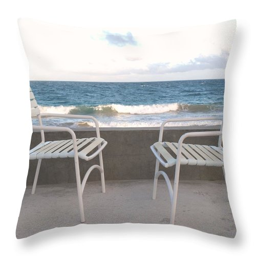 Seascape Throw Pillow featuring the photograph The Meeting by Ian MacDonald
