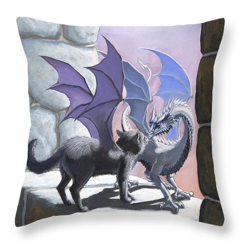 Fantasy Throw Pillow featuring the painting The Meeting by Stanley Morrison