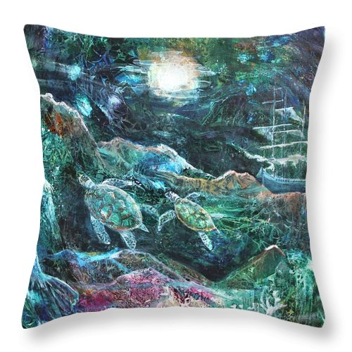 Art Throw Pillow featuring the painting The Mermaid's Tale by Patricia Allingham Carlson