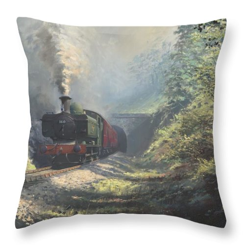Steam Throw Pillow featuring the painting The Merthyr Tunnel by Richard Picton