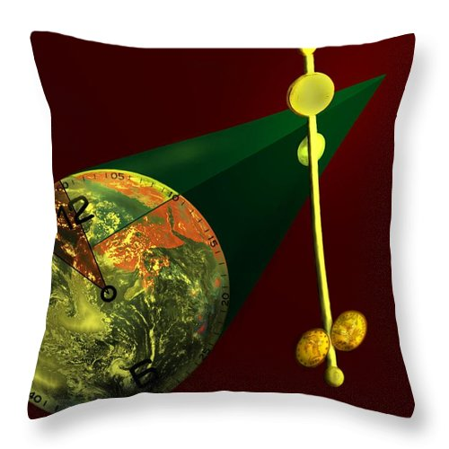 Earth Throw Pillow featuring the digital art The Metronome by Helmut Rottler