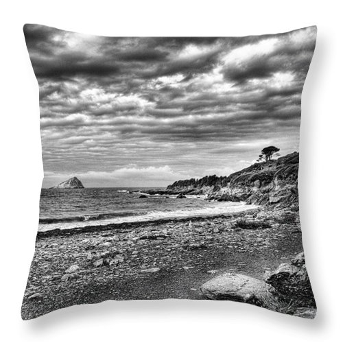 Devonshire Throw Pillow featuring the photograph The Mewstone, Wembury Bay, Devon #view by John Edwards