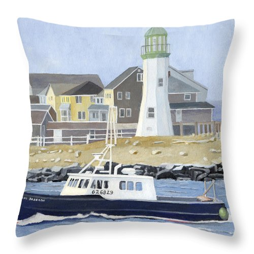 Fishingboat Throw Pillow featuring the painting The Michael Brandon by Dominic White
